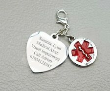 Medical Alert Charm Engraved Any Information Children Adults Visual Impairment