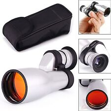 15x32mm Monocular Adjustable Pocket Telescope Focus Outdoor Hunt Hiking Silver
