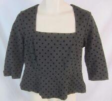 WHBM White House Black Market Womens L Gray Polka Dot Peplem Top Shirt CB17Q