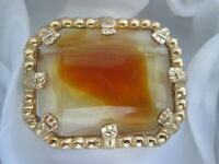 Vintage Faceted Claw Set Banded Amber Glass Gold Tone Metal Geometric Brooch Pin