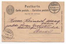 1904 SWITZERLAND Cover RHEINFELDEN to AARAU Stationery Postcard 5c