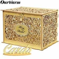 Gold Glitter Wood Card Box with Card Sign and Lock Card Holder Wedding Reception