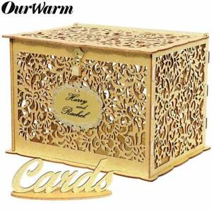 Wooden Wedding Card Box Wishing Well Gift Money Box with Lock Birthday Party Dec