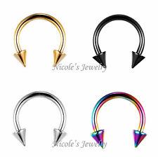 4PCS Titanium Anodized Spike Eyebrow Ear Daith Piercing Bar Ring CE11
