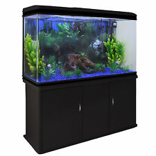 Fish Tank Aquarium Complete Set Up Tropical Marine 4ft 300 Litre Black Cabinet