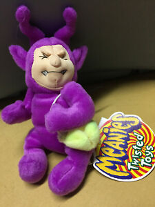 1999 Idea Factory Twisted Toys Meanies TELETUSHY  Beanie Purple, new