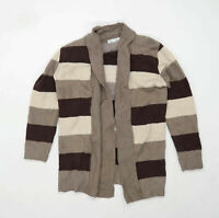 Pure & Natural Womens Size S-M Striped Brown Cardigan (Regular)