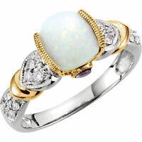 Genuine Opal, Tanzanites & Diamonds Ring 14K Solid White & Yellow Gold Size 7 US