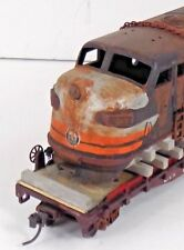 HO FLAT CAR DIESEL SHELL WEATHERED DIRTY RUSTY CHAINED CUSTOM COLLECT JUNK GIFT