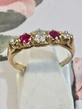 Victorian 18ct Yellow Gold Ruby & Diamond 5 Stone Ring Size J