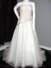 ANNE BARGE KLEINFELD SILK 10 WEDDING GOWN DRESS STRAPLESS SEQUINS BEAD NWT $4200