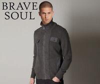brave soul men's knitted stylish marl grey zipped cardigan - size small