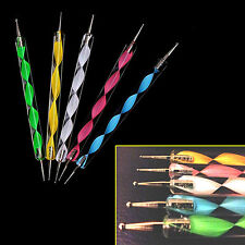 5 x Nail Art Dotting Pen Marbleizing Tool Set Manicure Painting Kit  2-Way - UK