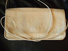 VTG Carlos Falchi Off White Clutch Handbag Textured Leather Reptile Gator Crock