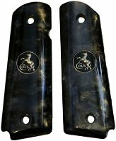 AJAX Grips - Full Size 1911 Colt Kimber - Pearlite Black with Black/Gold Coin