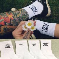 Unisex Fuck-off Print Funny Casual Sport White Black Skateboard Sock chaussettes