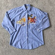 Vintage Disney Store Embroidered Winnie The Pooh Piglet Tigger Blue Cototn Shirt
