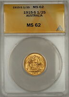 1915-S Australia 1/2 Half Sovereign Gold Coin ANACS MS-62