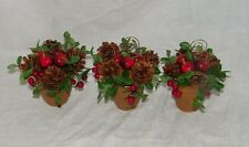 3 Pine cone Holiday Apple Floral Pot Table Place Card Holder Setting 18955