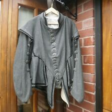 EX SEALED KNOT MEN'S 17th CENTURY DOUBLET & BREECHES GREY WOOLEN CLOTH LARGE