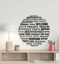 Welcome in Different Languages Wall Decal Office Decor Vinyl Sticker Sign 880