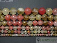 Natural Watermelon Quartz Tourmaline Gemstone Round Beads 4mm 6mm 8mm 10m 15.5''