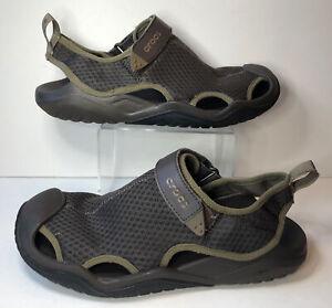 Crocs Swiftwater Mesh Comfort Fisherman Sandals  Men's Size 10 Brown