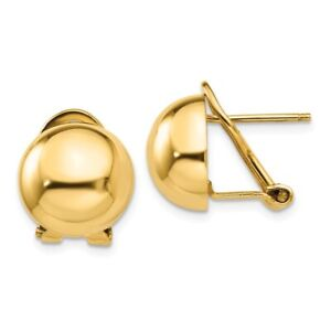 Omega Clip Half Ball Earrings in Polished Genuine 14k Yellow Gold - 12 to 24mm