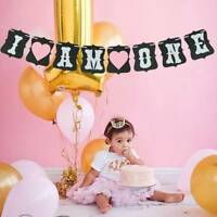 1st Birthday Party Sweet Hanging Bunting Banner Baby Boy Girl I Am One Decor