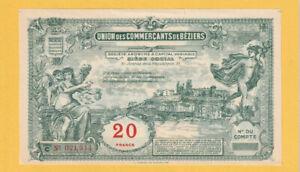 FRANCE - Union Commerçants De BÉZIERS NOTE 20 Francs - XF - a/UNC 1920's - LOOK!