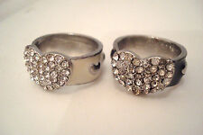 Pair of Silver Tone Black & Cream Enamel Diamante Heart Rings Sizes N and O