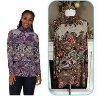 Susan Graver Liquid Knit Paisley Print Cokd Shoulder Mock Neck Top Size 3X