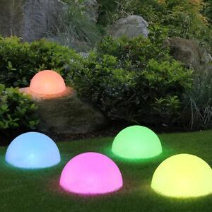5 x RGB LED Solar Halb Kugel Steck Lampen Außen Garten Deko Farbwechsel Leuchten