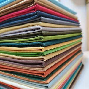 """30+ Colours Plain 100% Cotton Fabric Material Fat Quarter Art Quilting Metre 44"""""""