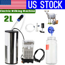 USA 2L Electric Milking Machine Cow Milker Portable Vacuum Pump Bucket Tank