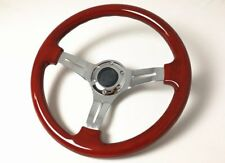 360mm Brown Plastic ABS Steering Wheel With Chrome Alloy Spoke Classic Style