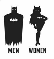 Batman and Bat woman bathroom door decal - Batman and Bat woman room decal