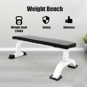 NEW Barbell Flat Bench Press Dumbbell Weight Lifting Fitness Abs Workout Gym UK