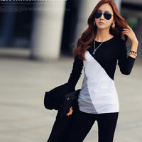 Women's Autumn Casual O-Neck Long Sleeve Patchwork Slim T-Shirt Blouse Tops