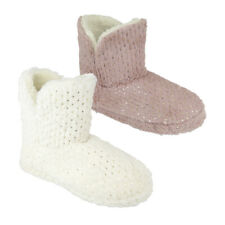 Ladies Gold Spot Embossed Faux Fur Sherpa Lined Slipper Boots in UK Sizes 3-8