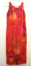 CHICOS DESIGN sz 0 Red Paisley Long Maxi Dress Sleeveless vacation cruise Hawaii