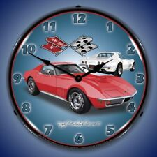 CORVETTE 1971 STINGRAY RED LIGHTED BACKLIT WALL CLOCK RETRO MAN CAVE GARAGE NEW