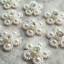 10 x 15mm Pearl & Diamante Daisies, Daisy Stick on Gems, Wedding Invites Card