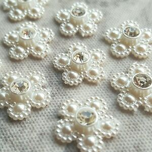 10 x 15mm Pearl & Diamante Daisies, Daisy Stick on Gems, Wedding Invites Card