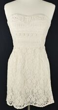 Free People I Heart Lace Dress Size 6 Lace Crochet Overlay Strapless Ivory Cream