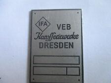 ID Nameplate IFA VEB karosseriewerke Dresden S31 EMW
