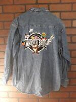 Vintage 90s Warner Bros Mens Small Looney Tunes Long Sleeve Denim Jean Shirt Taz