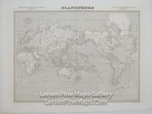 1833 Antique Map Planisphere World Map, Mercator's Projection, Monin, Magellan