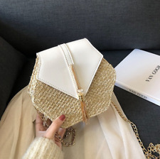 Hand Woven Rattan Straw Women White Leather Beach Crossbody Bag Style US Seller