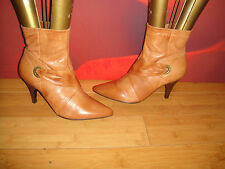 SUPERB BARRATTS TAN BROWN LEATHER  ANKLE BOOTS  UK 6 *19*